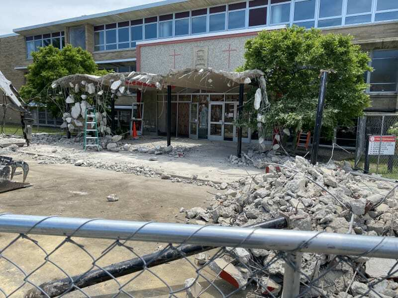 Construction going on for the front entrance of LaSalle